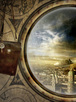 Steampunk Travel- Porthole view of Dirigible or Airship over a beautiful city